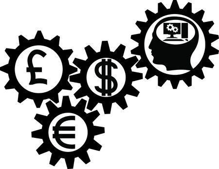 thinking machine: engranaje de negocio  Vectores