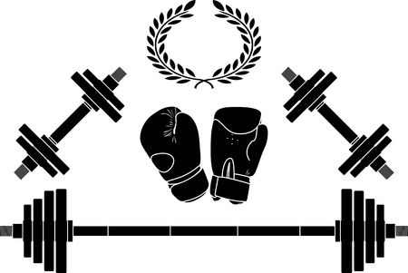 kilograms: weights and boxing gloves. illustration