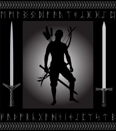runes: chasseur de fantaisie. illustration vectoriel pour le web  Illustration