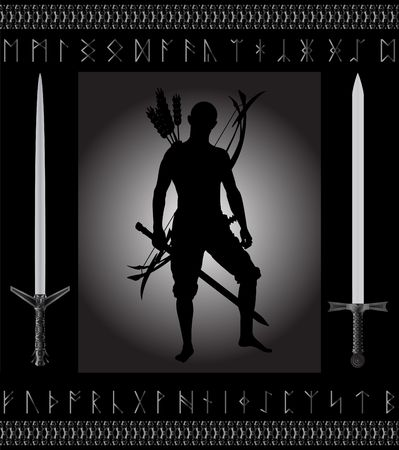 runes: fantasy hunter. vector illustration for web Illustration