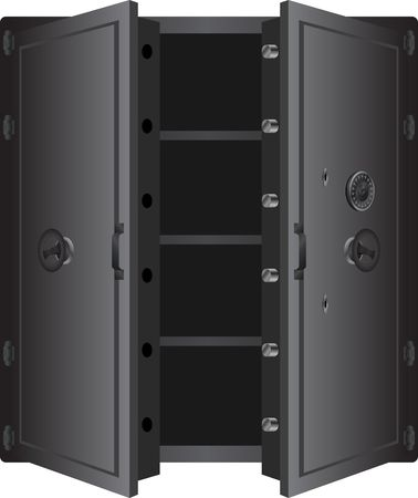 safe lock: metallic safe.