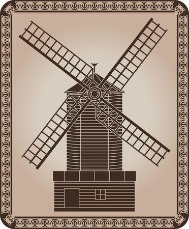 windmill. stencil. Stock Vector - 7091268
