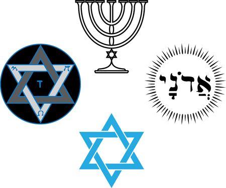 estrella de david: Los s�mbolos religiosos y m�gicos jud�os Vectores