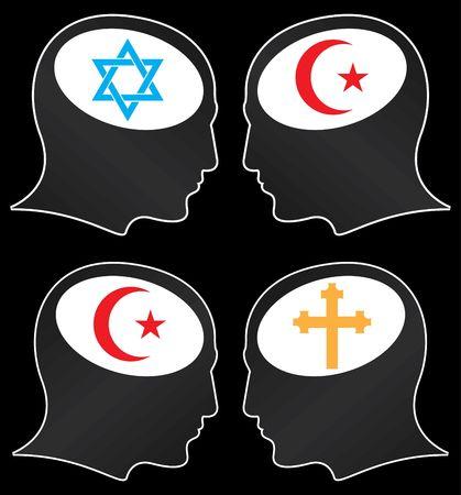 fanatics: brains of religious fanatics. illustration