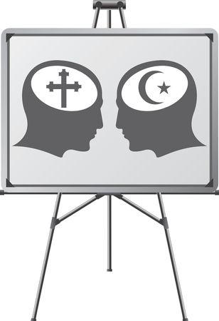 fanatics: brains of religious fanatics in easel. illustration Illustration