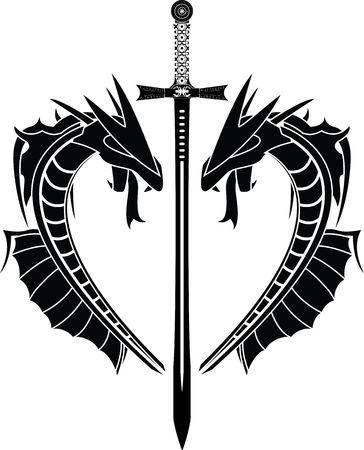 espadas medievales: Dragones y espada