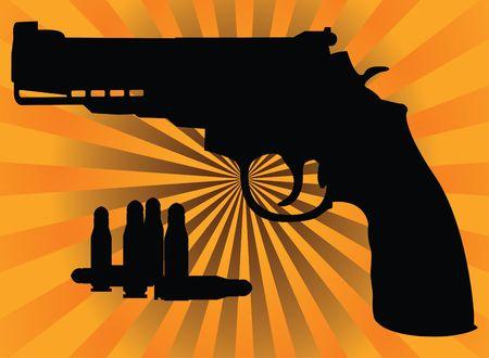 pistol and bullets.  illustration Vector
