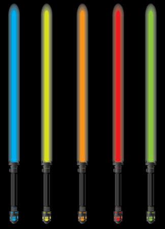 set of light sabers.  illustration Vector