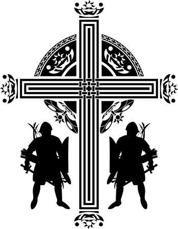 fantasy crusaders cross illustration Stock Vector - 7801998