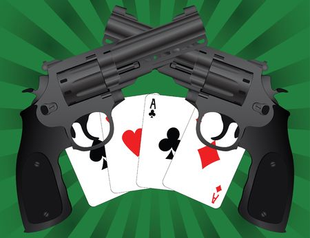 two pistols and aces. illustration Stock Vector - 7801994