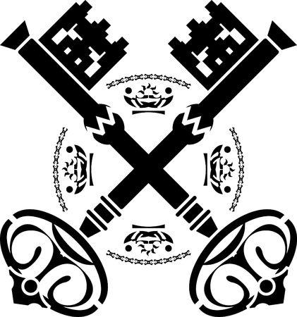 llave de sol: claves de la medievales. segunda variante. Ilustraci�n  Vectores