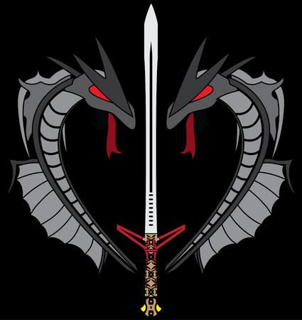 grey dragons and sword. illustration Vector