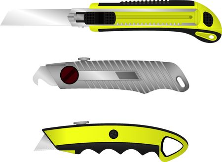 penknife: set of cutter knifes. illustration