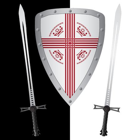 fantasy shield and swords. first variant. Vector