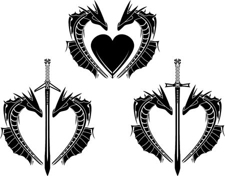 set of hearts of dragons. stencil. Vector