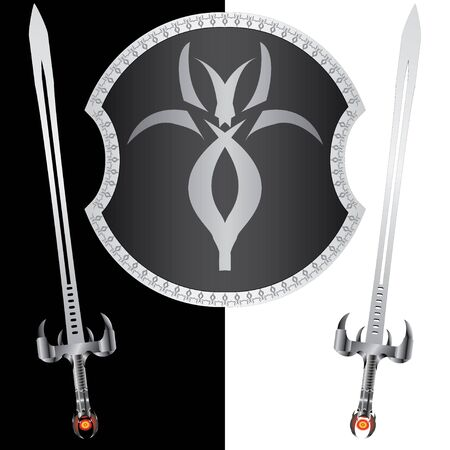 fantasy shield and swords. second variant. vector illustration Vector