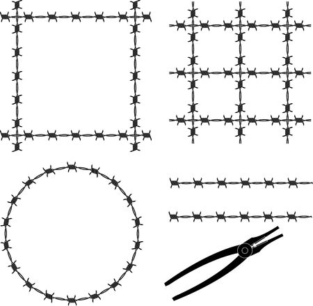 barbed wire. stencil. vector illustration Stock Vector - 7916447