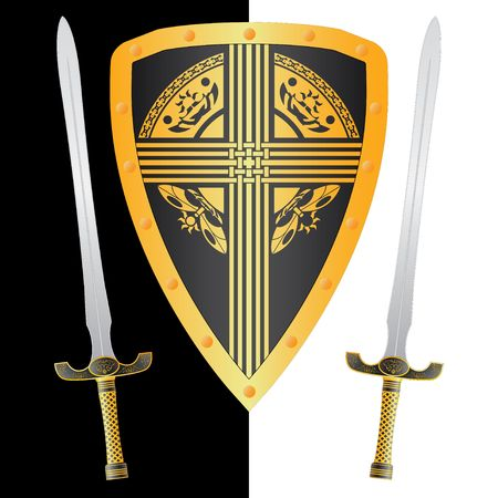 excalibur: fantasy shield and swords. third variant Illustration