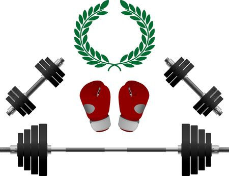weightlifting equipment: pesos y guantes de boxeador. Vectores
