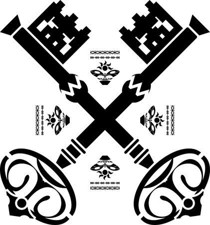 llave de sol: claves medievales. tercera variante. ilustraci�n Vectores