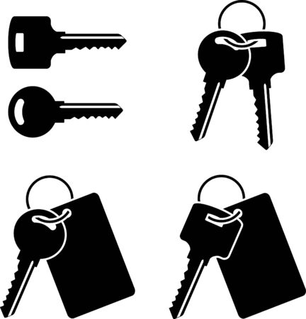 set of keys: set of keys. stencil. first variant. vector illustration