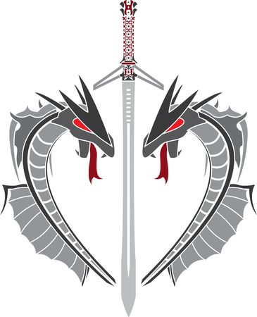 heart of dragons and fantasy sword. vector illustration Stock Vector - 8143332