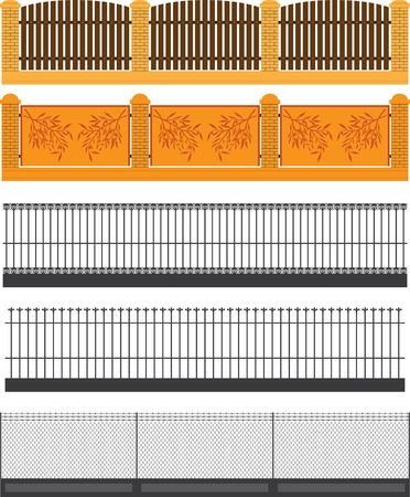picket fence: set of fences and walls. vector illustration