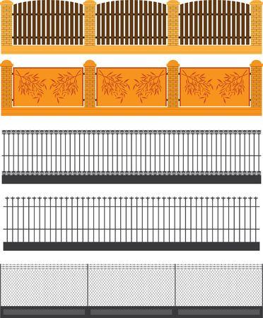 symbol fence: set of fences and walls. vector illustration