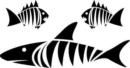 fins: Tiger shark and piranhas. stencil. vector illustration