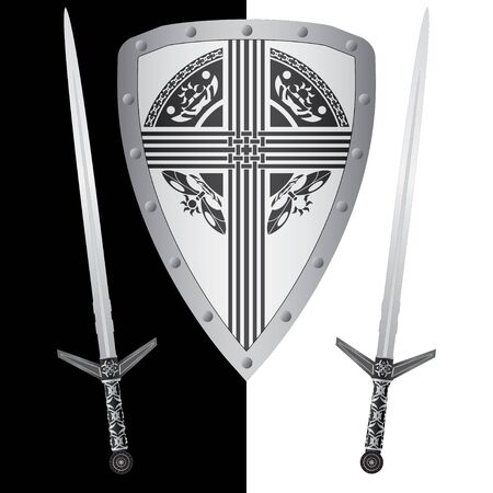 fantasy shield and swords. fourth variant. vector illustration Vector
