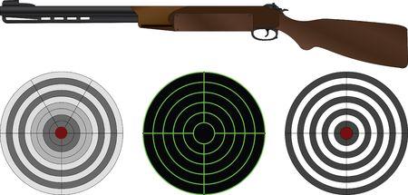 targets: sporting gun and targets. vector illustration