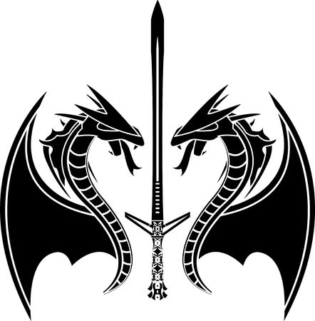 dragon tattoo design: flying dragons and sword.  Illustration
