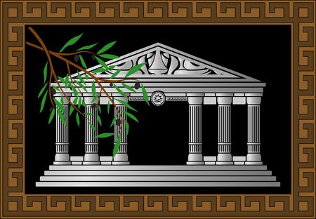 hellenic: fantasy hellenic temple and olive branch.