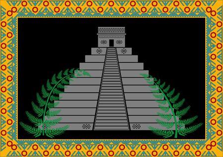 fantasy mayan pyramid.  Vector