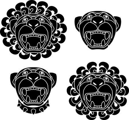 set of lion snouts. stencil.  Vector