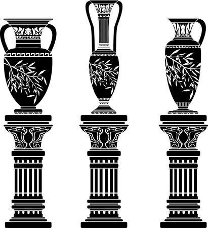 anfore e brocca. stencil. illustrazione vettoriale