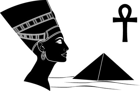 ankh: queen of egypt. stencil.  illustration Illustration