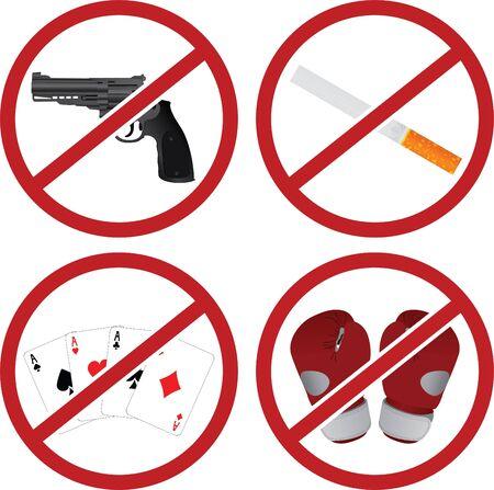 realistic warning signs. illustration Vector