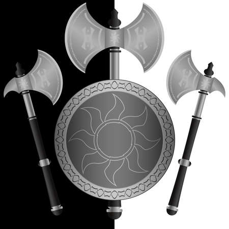 fantasy shields and axes.sixth variant Vector