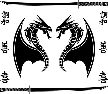 japanese flying dragons. stencil Vector