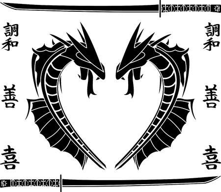 japanese sea dragons. stencil Vector