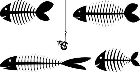 set of fish skeletons Vector