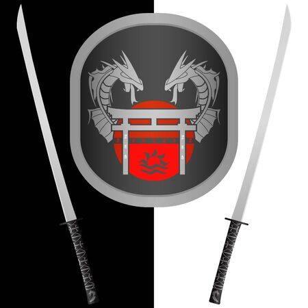 variant: fantasy shield and swords. seventh variant. Illustration