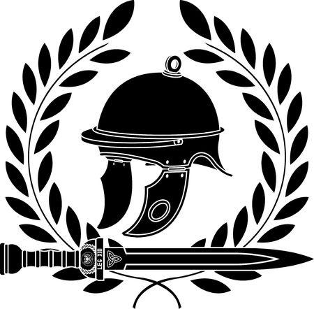 roman helmet. stencil. first variant Vector