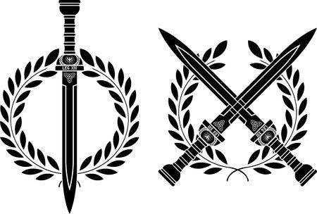 roman swords and wreath Stock Vector - 8531954