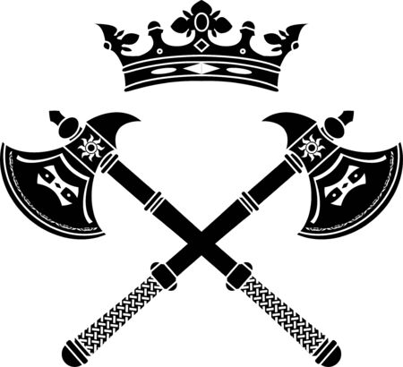 fantasy axes and crown. stencil. illustration