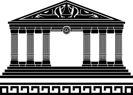 doric: fantasy temple. first variant. stencil. illustration
