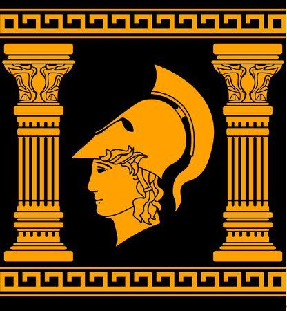 sparta: Gedenken an den alten Krieger. Schablone. Illustration