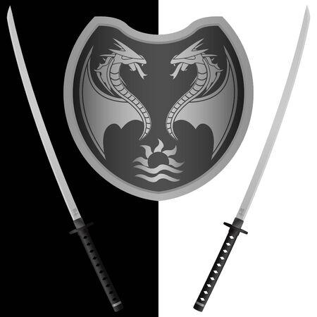 katana: Fantasy schild en zwaarden. achtste variant. vector illustrator