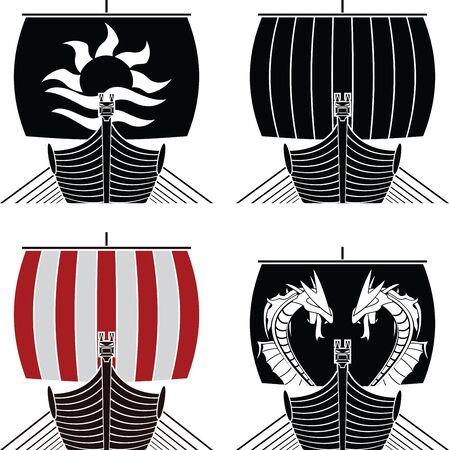 vikingo: barcos vikingos. Galer�a de s�mbolos. ilustraci�n vectorial